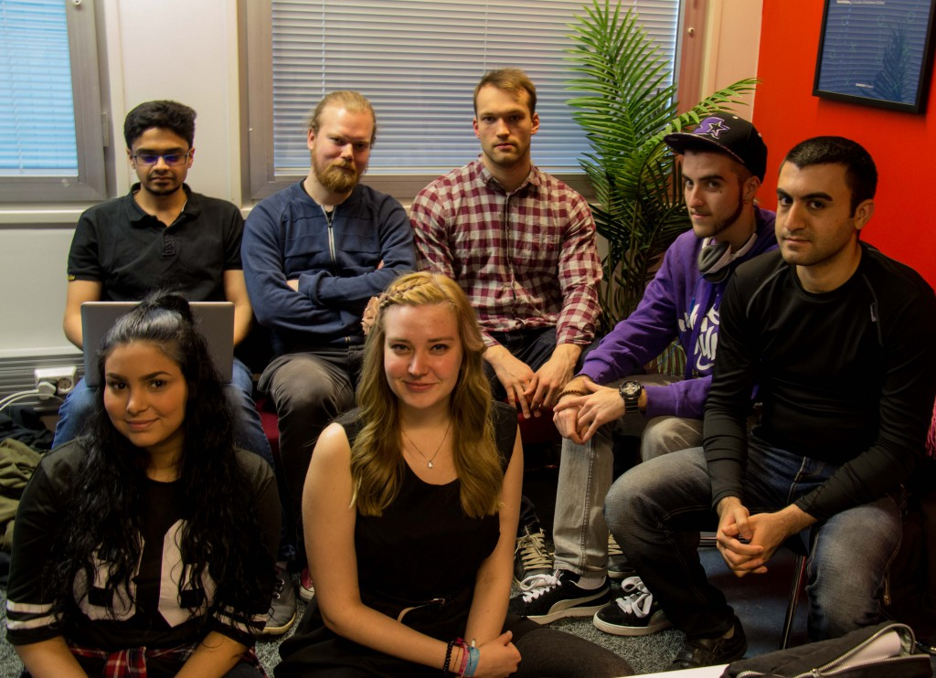 Front row: Waged Arabi (left) and Katarzyna Plewa. Back row: Pramod Guruprasad (left), Ville Hämäläinen, Antti Lehto, Clément Le Meur and Kasra Ariyaeimehr.